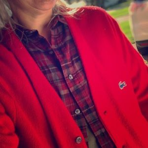 Vintage Izod Lacoste Bright Red Cardigan Sweater